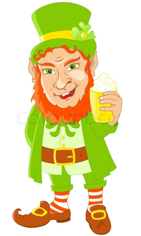 Leprechaun with mug of beer for St Patrick's Day.