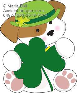 Royalty Free Clip Art Image: St Patrick's Day Puppy Dog.