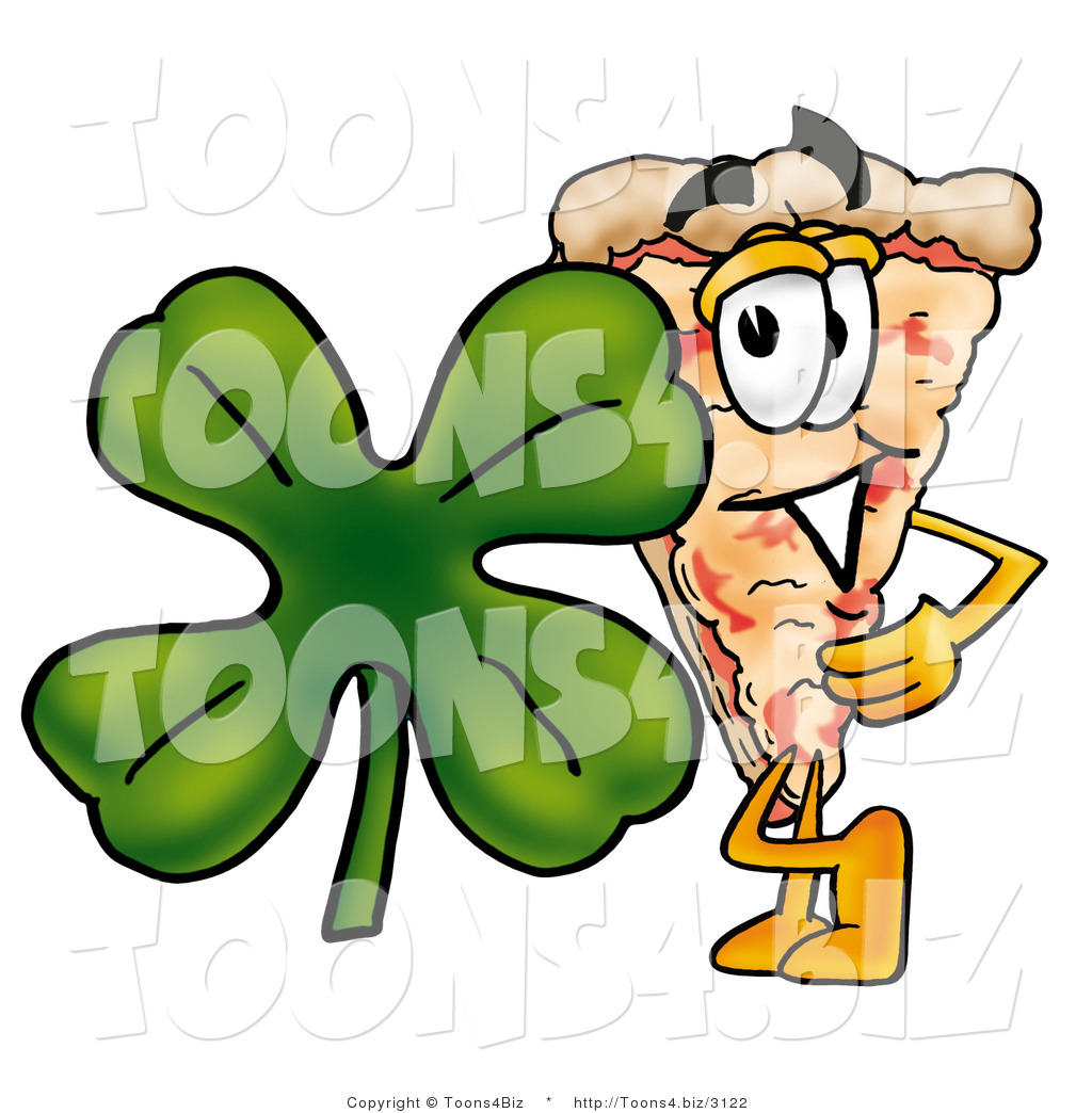 Illustration of a Cartoon Cheese Pizza Mascot with a Green Four.