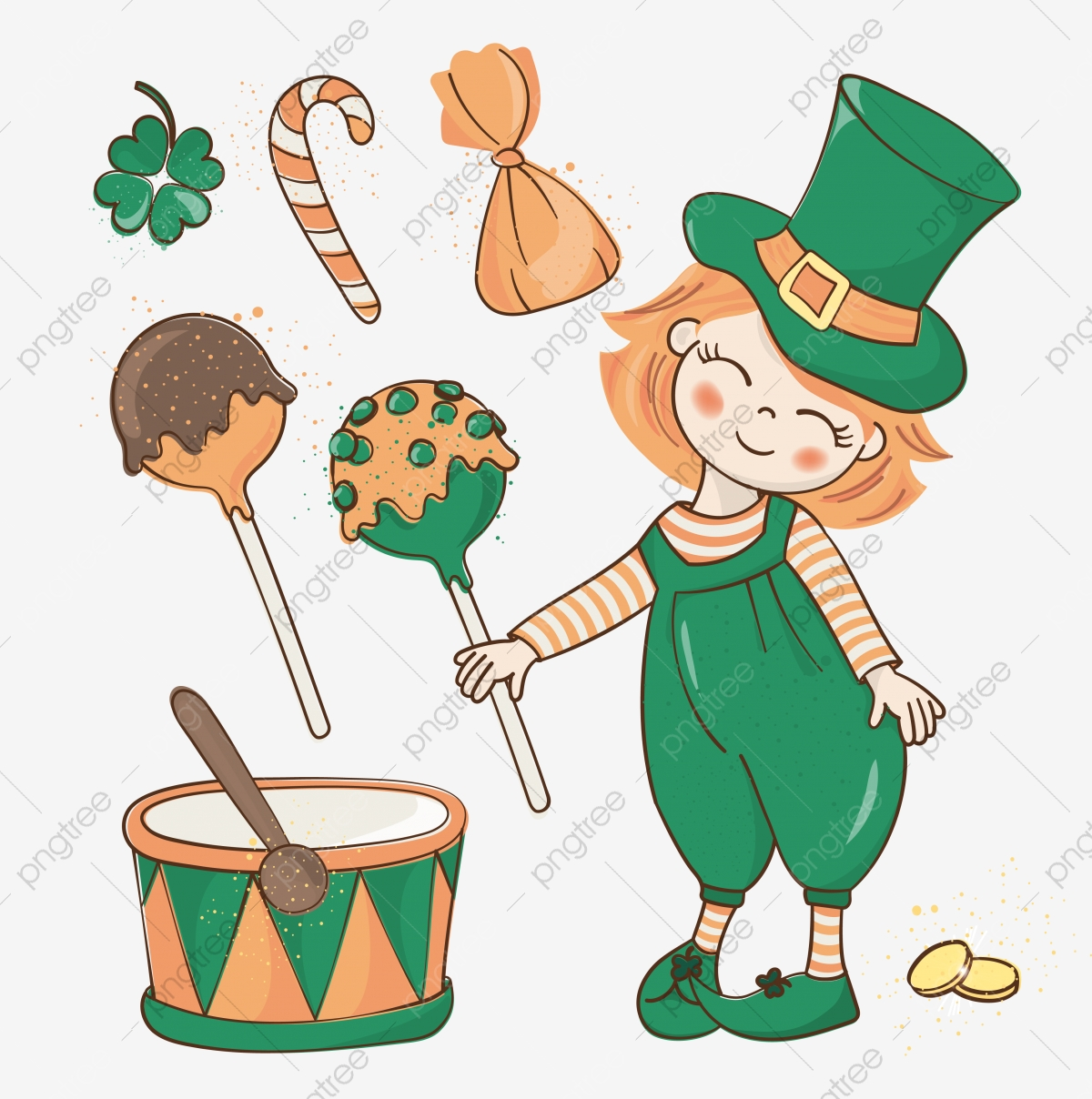 Patrick Birthday Saint Patrick Day Vector Illustration Set.