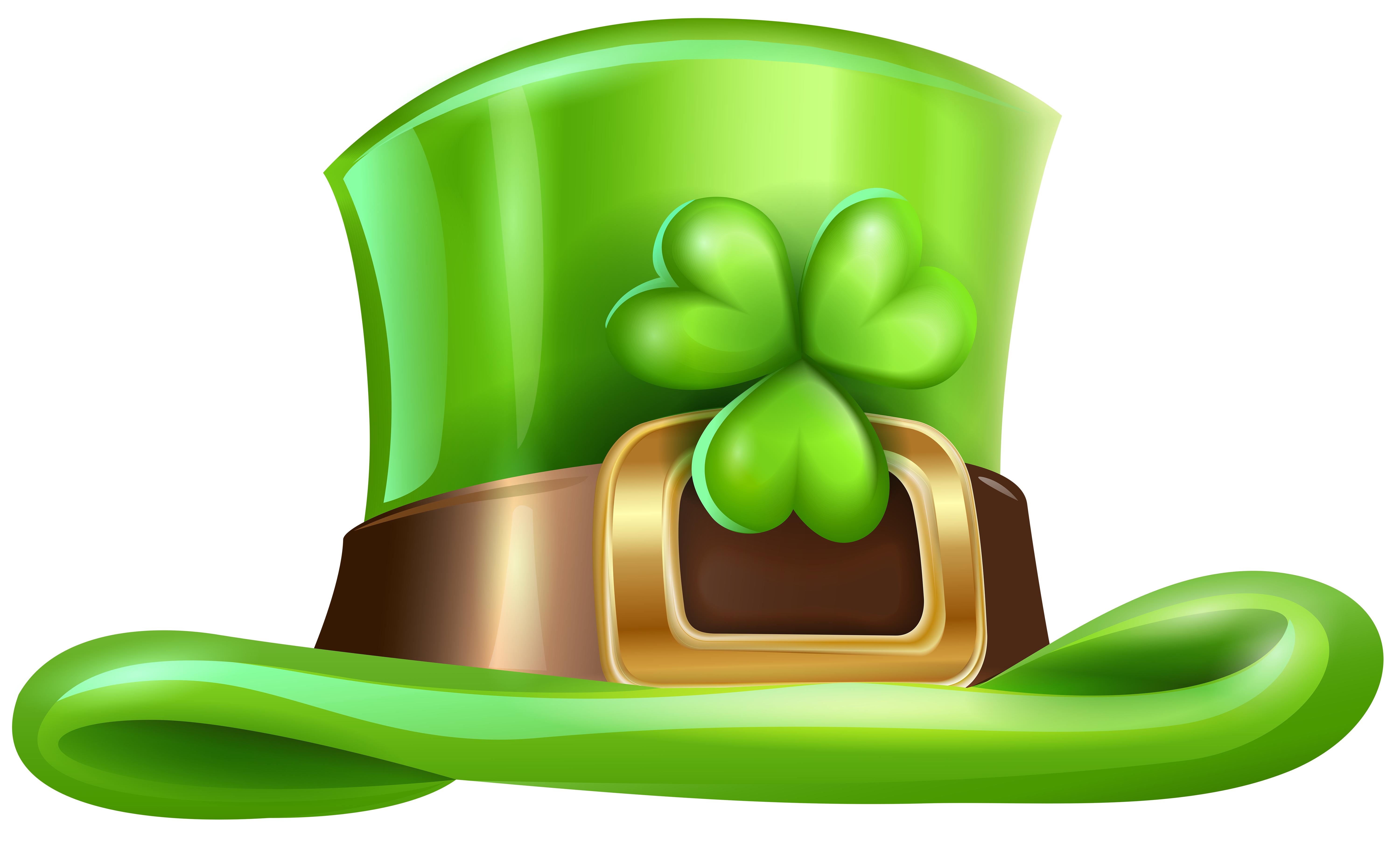 St Patricks Day Hat with Shamrock Transparent PNG Clip Art.