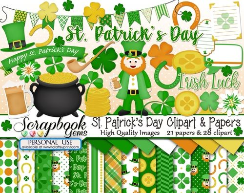 ST. PATRICKS DAY (IRISH) CLIPART & PAPERS KIT.