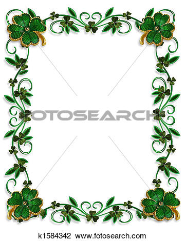 Clip Art of St Patricks Day Border Shamrocks k1584342.