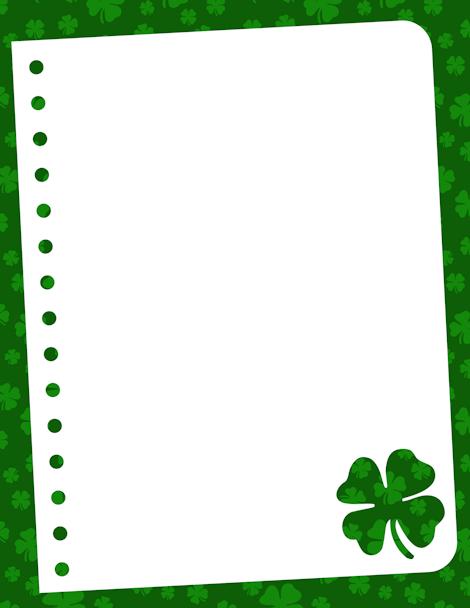 Green Hats and Shamrocks St Patricks Day Border |St Patricks Border