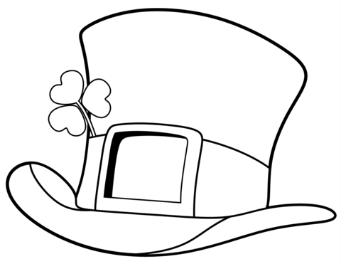 St. Patrick Day Top Hat coloring page.