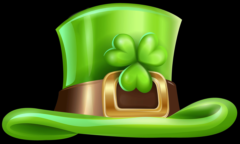St Patricks Day Hat With Shamrock Transparent PNG Clip Art Image.