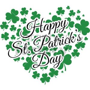 happy st patricks day shamrock heart design clipart. Royalty.
