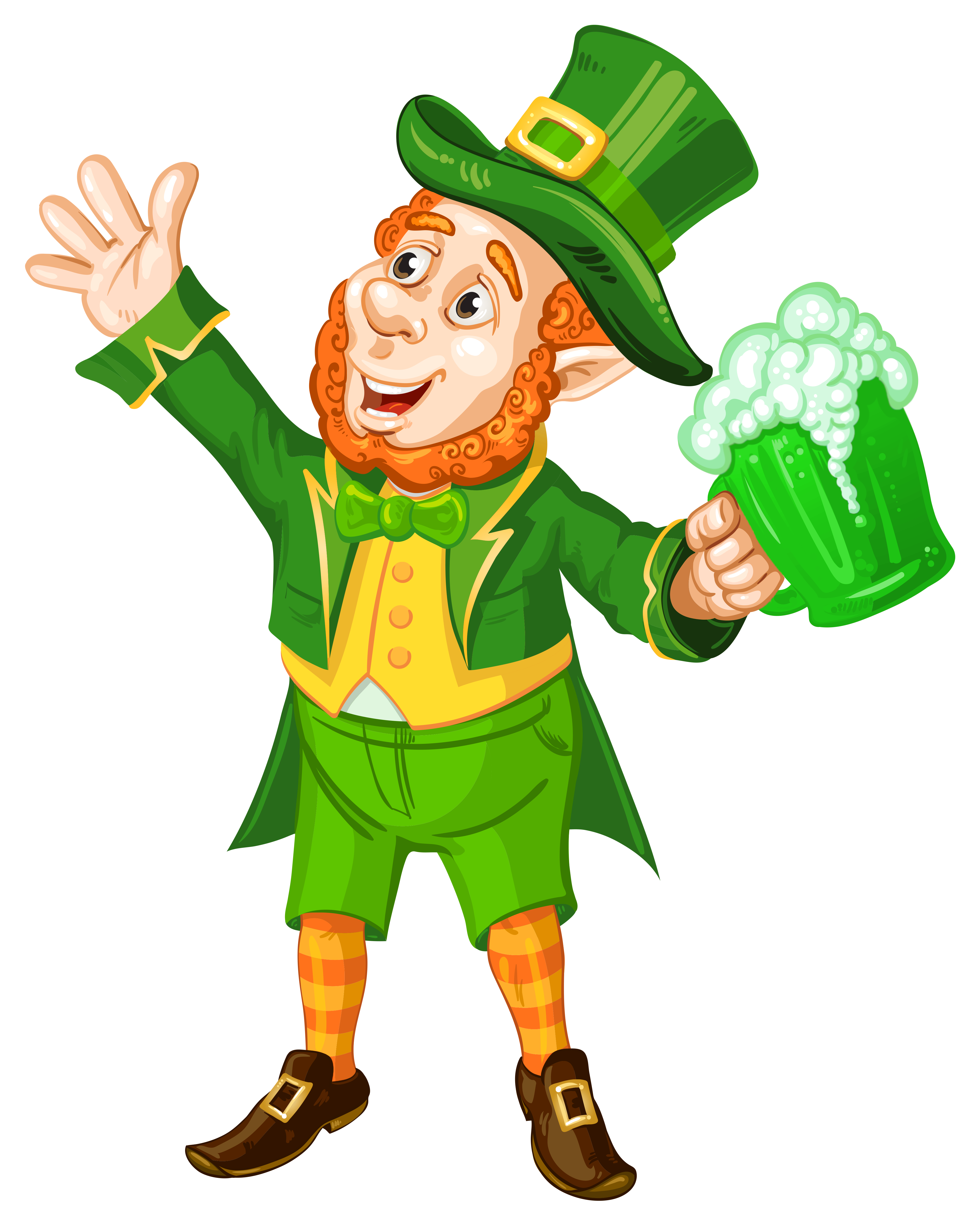 St Patrick Day Leprechaun with Green Beer Transparent PNG.