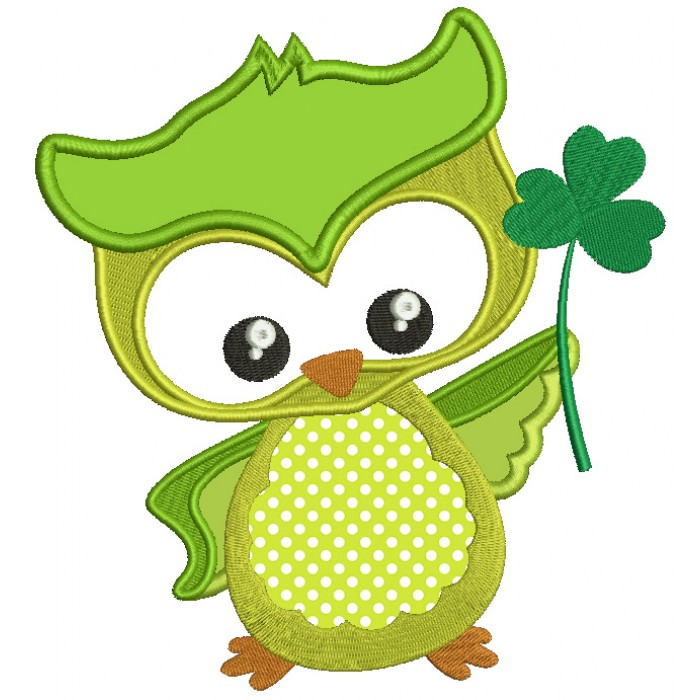 St Patrick\'s Day Owl Holding Shamrock Irish Applique Machine Embroidery  Design Digitized Pattern.