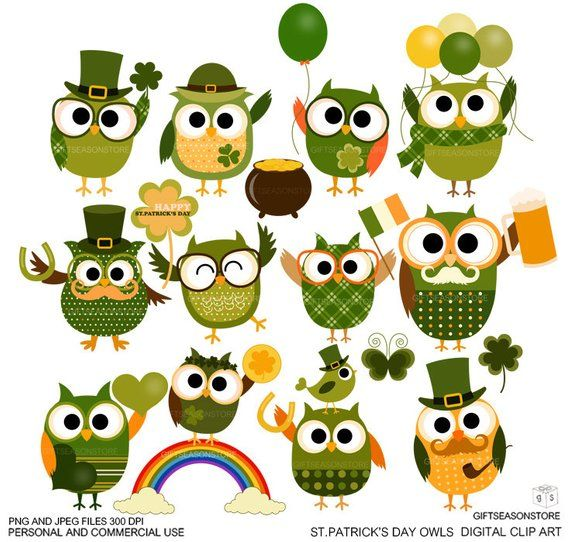 St.patrick\'s day owls Digital clip art for Personal and.