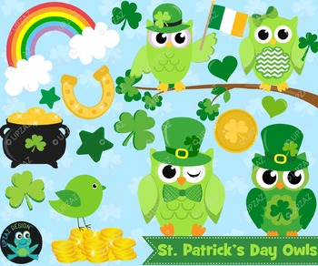 St Patricks Owl Clipart, Instant Download, Commercial Use.