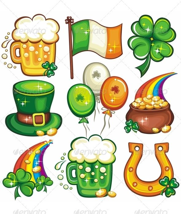 St. Patrick\'s Day icon set series #GraphicRiver Set contains.