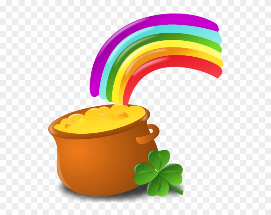 St Patrick Pot Of Gold With Rainbow Png Picture.