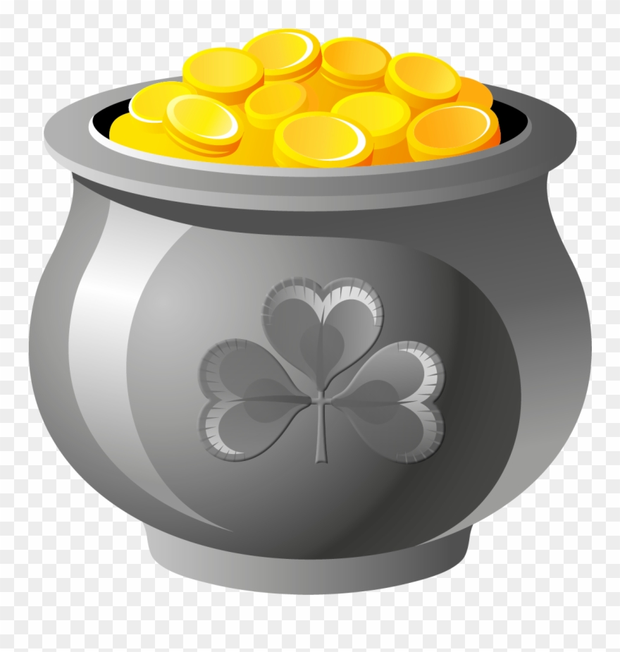 St Patrick Pot Of Gold With Coins Png Picture.