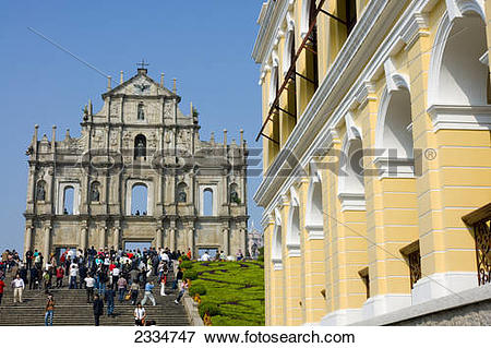 Picture of Tourists at church, St. Paul's Church, Macau, Guangdong.