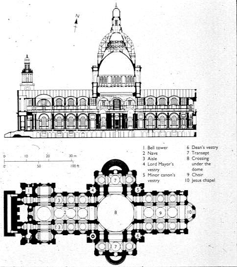 PLAN of St. Paul's, London by Sir Christopher Wren, 1675. This was.