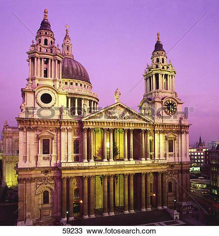 Stock Photo of Facade of church, St. Paul's Church, London, France.