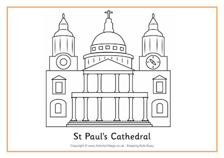 St Paul's Cathedral Colouring Page.