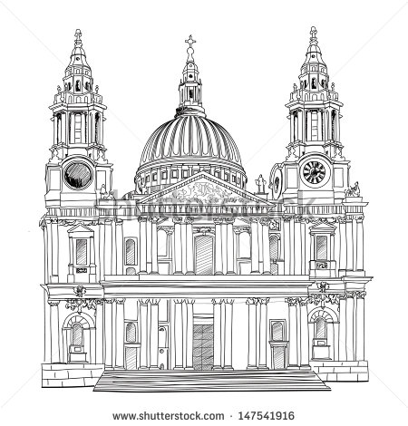 St Paul Cathedral London City Uk Stock Vector 147541916.