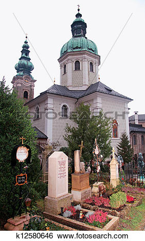 Stock Images of Saint Peter's Abbey Church and old cemetery in.