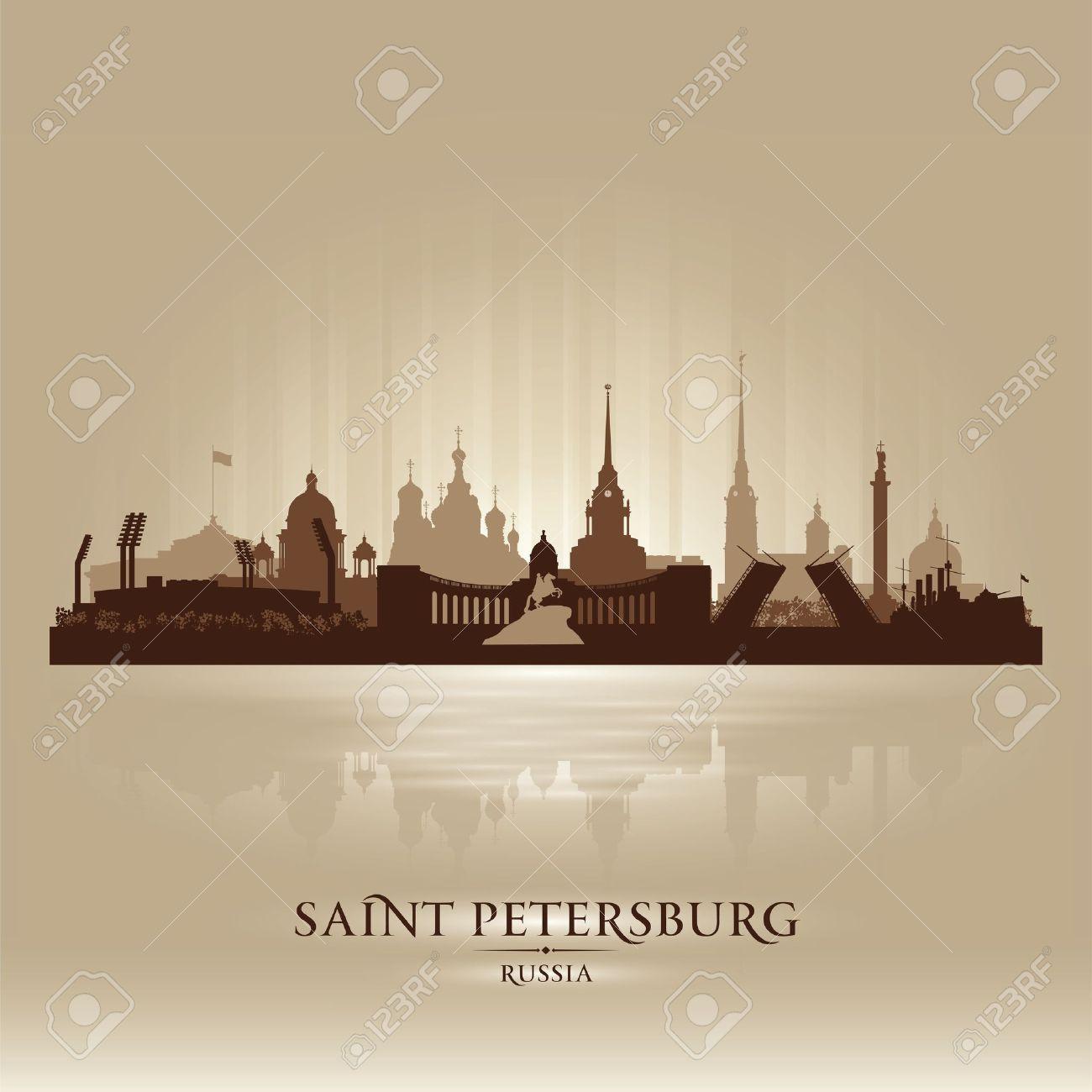 Saint Petersburg Russia City Skyline Silhouette. Royalty Free.