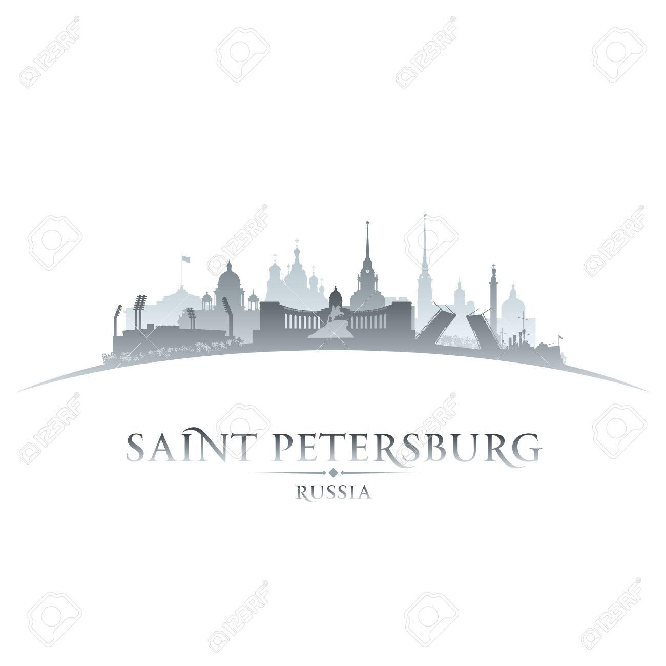 Saint Petersburg Russia City Skyline Silhouette. Vector.