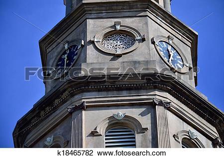 Stock Photo of St. Philips Episcopal Church Clocks k18465782.