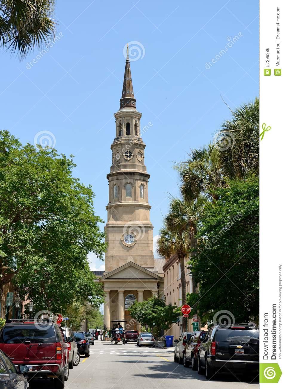St. Philip's Church, Charleston, SC Editorial Photo.