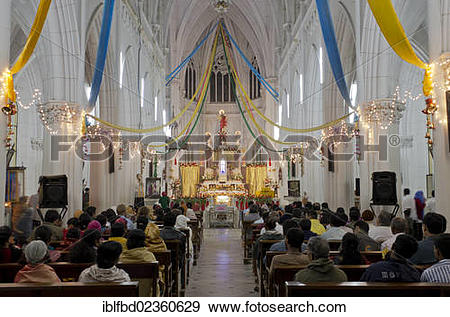 "Stock Photograph of ""Inside St. Philomenas Cathedral at Christmas."