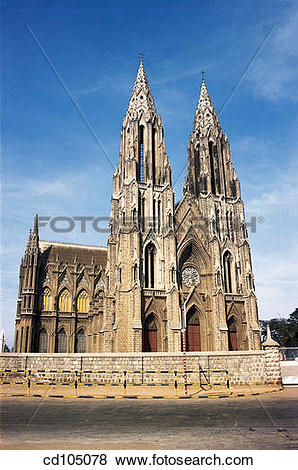 Pictures of St. Philomena's church. Mysore. Karnataka, India.