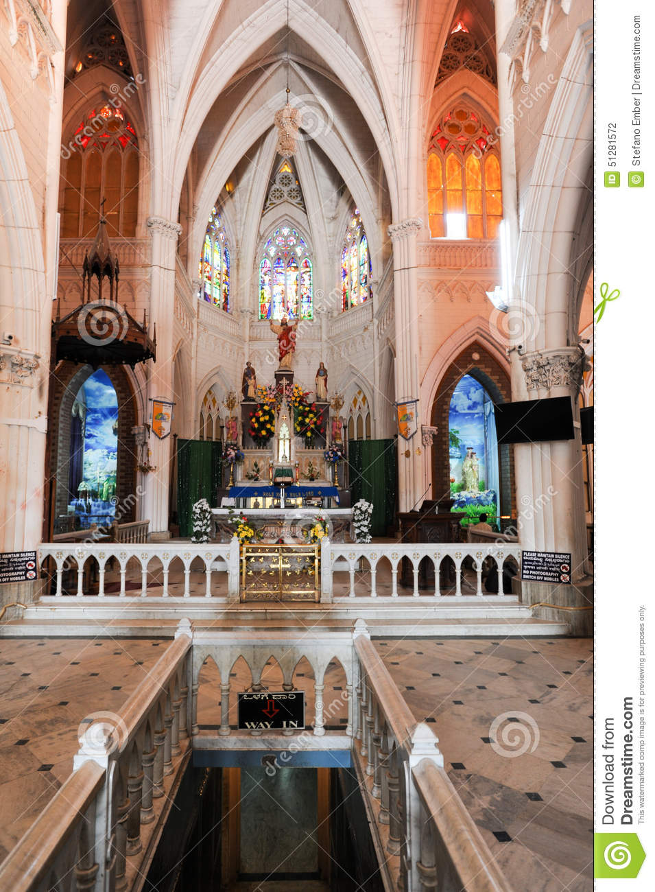 The Interiors Of St. Philomena's Cathedral At Mysore Stock Photo.