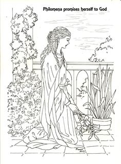 St. Philomena. A picture to colour. Philomena goes to her eternal.