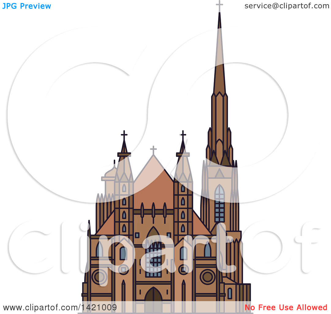 Clipart of a Austria Landmark, St. Stephen Cathedral.