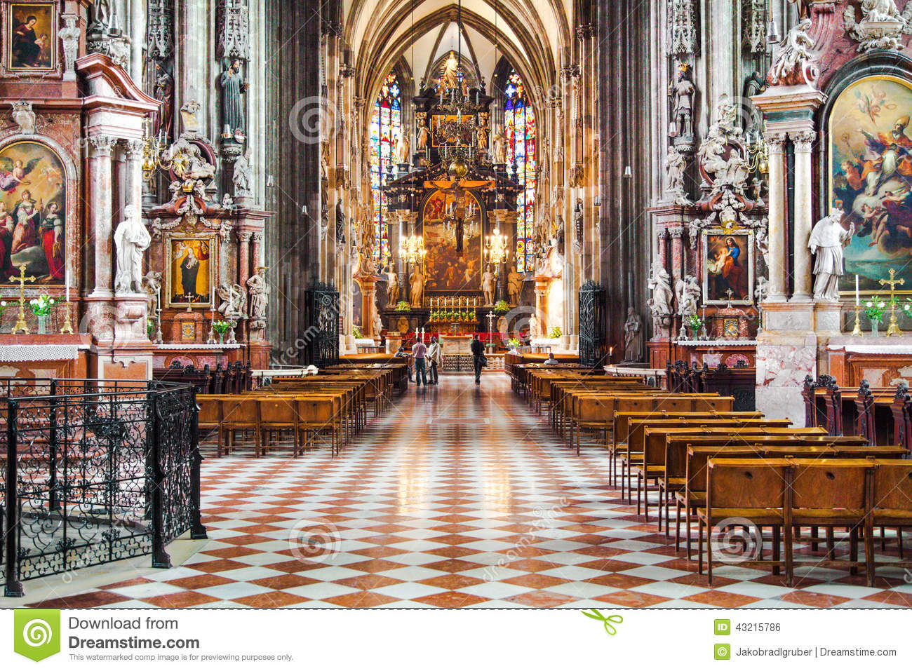 Interior View Of Famous St. Stephen's Cathedral In Vienna, Austria.
