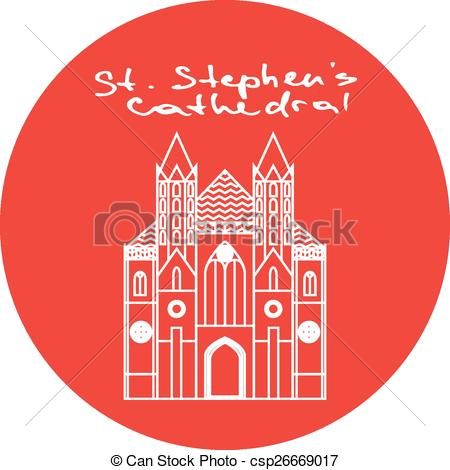Vector Clip Art of Vienna St. Stephens Cathedral vector red circle.