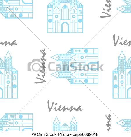 Vector Clip Art of Vienna St Stephens Cathedral fabric pattern.