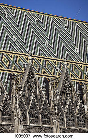 Picture of Patterned tiles on the roof of St Stephen's Cathedral.