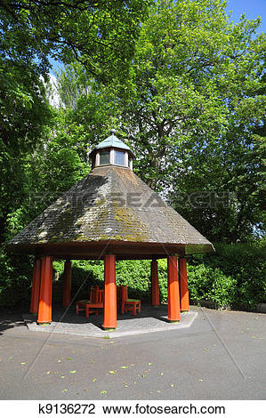 Stock Photo of Arbor and trees in St. Stephen's Green at summer.