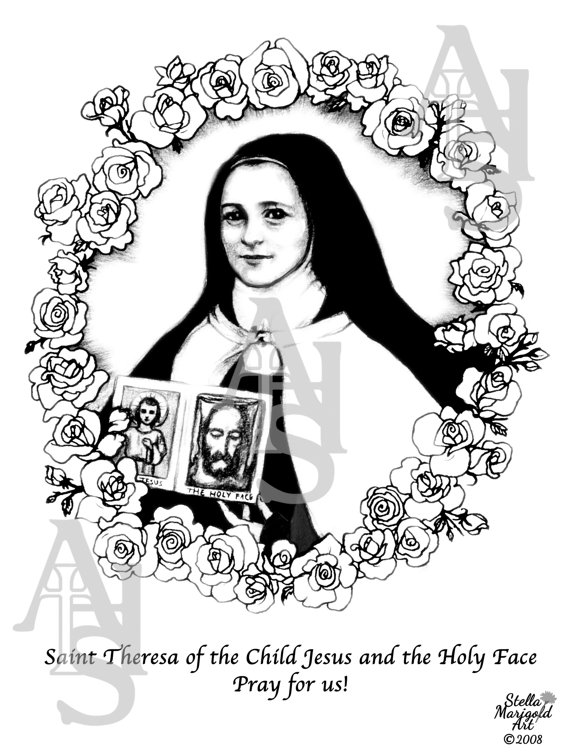 Saint Theresa of the Child Jesus and the Holy Face Coloring.