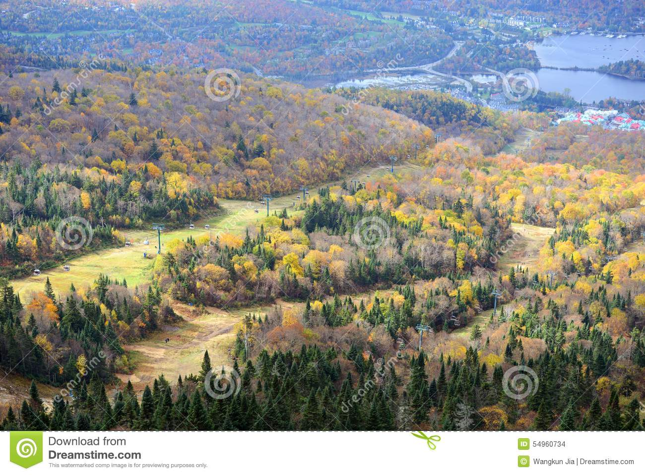 Mont Tremblant With Fall Foliage, Quebec, Canada Stock Photo.