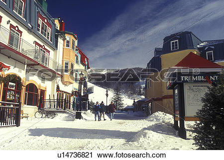 Stock Photography of Canada, Quebec, Tremblant Ski Resort at Mont.
