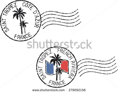 Two Postal Grunge Stamps 'Saint Tropez'. French And English.
