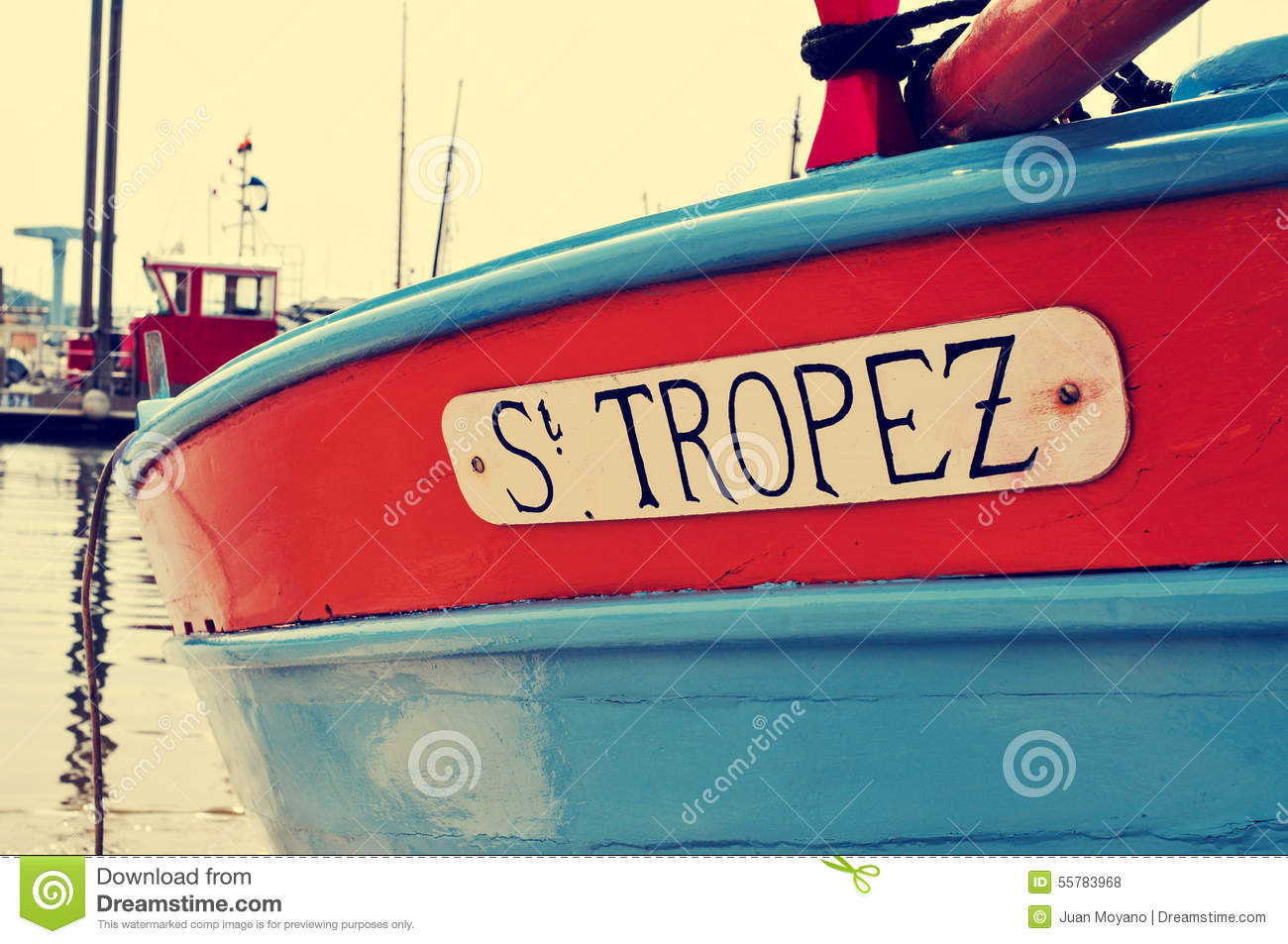 St. Tropez Written In A Boat, With A Retro Effect Editorial Stock.
