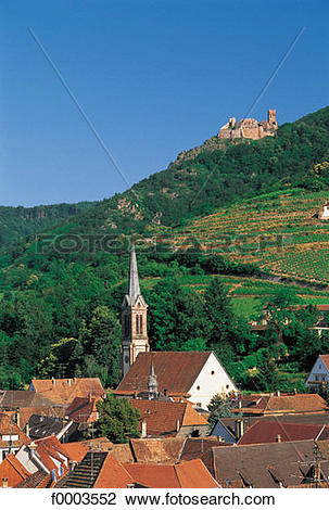 Stock Photo of France, Alsace, Village of Ribeauvillé and Château.