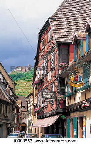 Picture of France, Alsace, Village of Ribeauvillé and Château St.