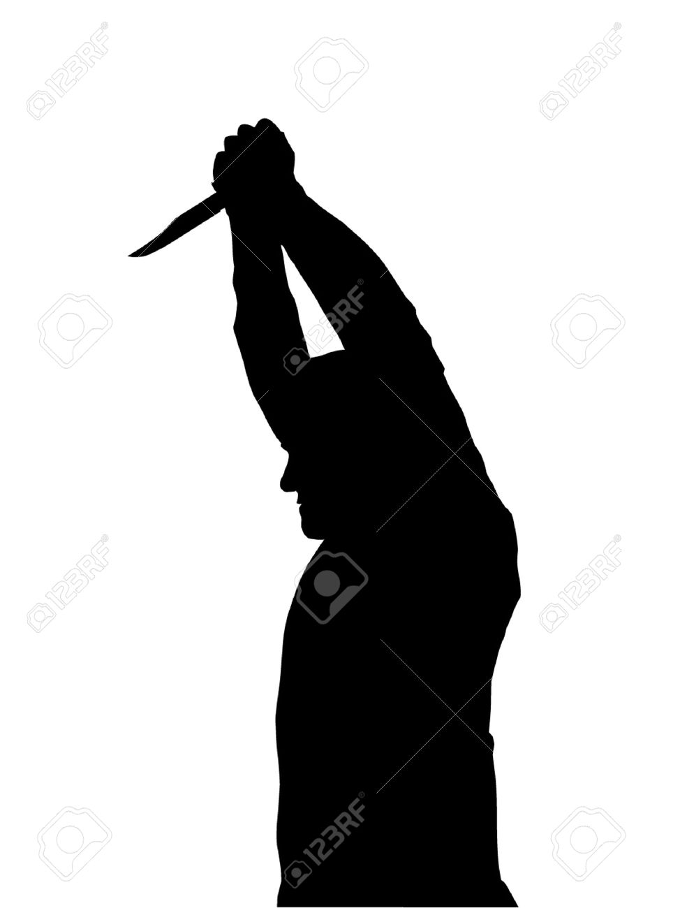 Man with knife black and white clipart.
