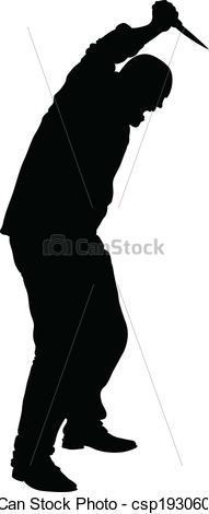 Clipart Vector of Stabbing Man.