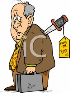 Clipart of a Businessman Stabbed in the Back by the Boss.