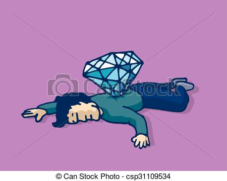 Vectors of Dead man stabbed with diamond murdered for money.
