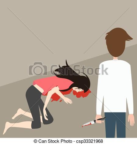 Clip Art Vector of murder case man stabbed woman with knife blood.